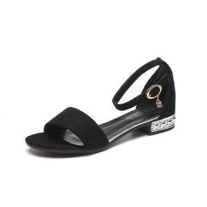 ELEISE美国艾蕾莎新品060-218韩版磨砂绒面平跟女士凉鞋