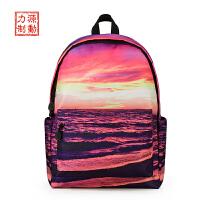 新款双肩包男休闲旅行背包时尚沙滩印花校园潮流女韩版高中学生书包