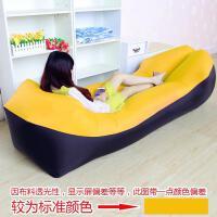 充气沙发单人午休户外床垫座椅上便携充气懒人沙发空气用品SN0930 黑色拼黄色 牛津布料