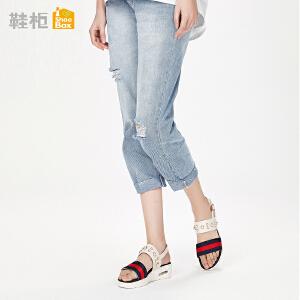 达芙妮集团鞋柜18夏PINKII珍珠铆钉时尚前后绊带橡胶鞋底凉...