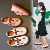 女童公主鞋花朵�和��涡�豆豆鞋子����童鞋