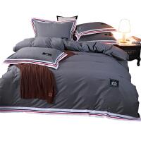 纯色四件套全棉纯棉简约素色床单被套家纺4件套1.8m床上用品