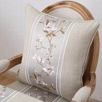 美式刺绣布艺抱枕靠垫套中式含芯靠枕沙发靠垫套可拆洗