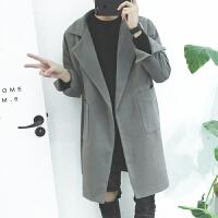 新款秋冬风衣男宽松日系中长款毛呢大衣青年韩版潮流呢子外套
