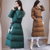 长款棉衣女冬韩版长过膝新款修身显瘦立领加厚保暖系带外套