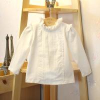 秋冬新款加绒加厚女童打底衫纯棉女宝宝长袖T恤小立领蕾丝边0-3岁