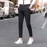 男士休闲裤修身薄款九分裤黑色小脚西裤弹力西装裤潮流长裤子