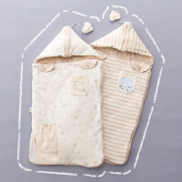 彩棉城堡 婴儿用品彩棉儿童睡袋秋冬婴儿包被宝宝防惊跳两用防踢被