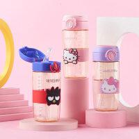 HelloKitty/凯蒂猫 夏季儿童水杯小学生PPSU方形水壶男女防摔便携3D图案吸管奶瓶400ml