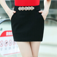 裙子女新款秋冬包臀裙半身裙弹力大码一步裙职业裙修身短包裙 黑色