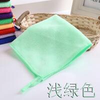 超细纤维比纯棉好儿童方巾毛巾白色吸水洗脸巾幼儿园小毛巾挂绳 浅绿色 加厚有挂绳
