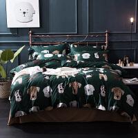 棉60支长绒棉四件套卡通墨绿色 小狗动物被套床品可爱纽扣印花