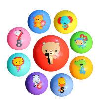 男孩9件套装费雪婴儿手抓球卡通认知宝宝训练球皮球玩具球6个月1-2岁 室内益智玩具 费雪数字认知球套装