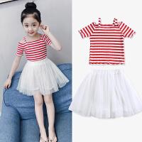 儿童夏季套装2018新款韩版短袖两件套裙子女孩童装