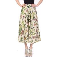 棉麻半身裙女2018夏装长款松紧腰大摆波西米亚度假妈妈亚麻长裙子