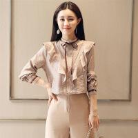 衬衫立领套头2018年春季长袖系带拼接韩版时尚休闲舒适简约气质潮流