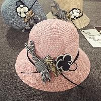 儿童草帽女沙滩帽夏天遮阳帽防晒宝宝帽子度假渔夫帽卡通小礼帽潮