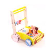 婴儿益智儿童玩具木制 宝宝手推学步车 幼儿可折叠手推车 宝宝新年礼物