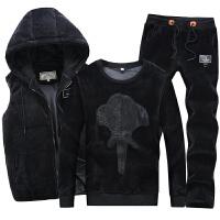衣服男装冬季外套金丝绒套装加厚休闲运动三件套韩版潮流卫衣加绒