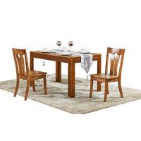 尚满 客厅边框实木家具系列餐桌椅组合套装 中式古典餐台餐椅 2/4/6椅独立搭配桌台