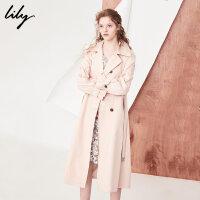 Lily2018春新款风衣女装商务通勤系腰带长款粉色风衣118130C1210