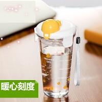 【支持万博客户端最新版卡】玻璃杯玻璃水杯刻度杯牛奶杯子带盖便携女可爱透明茶杯x8f