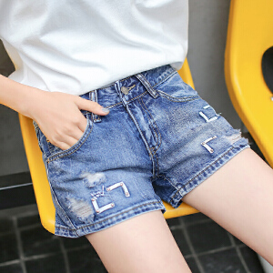 RANJU 然聚2018女装夏季新品新款韩版新款阔腿裤破洞水洗牛仔短裤学生热裤潮