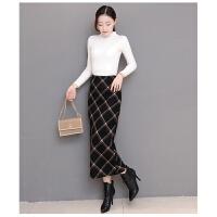 秋冬羊毛呢子一步裙气质修身显瘦开叉过膝长款包臀格子半身裙高腰