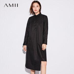 Amii[极简主义]纯棉绑带衬衫连衣裙女2017秋装新款长袖不对称长裙