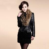 秋冬新款大码仿皮草外套皮衣羽绒服短款女士貉子毛领韩版修身 黑色
