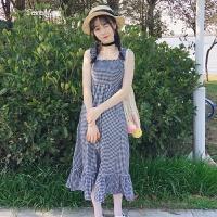 夏装女装新款韩版小清新吊带裙抹胸格子拼接荷叶边中长款连衣裙子 均码