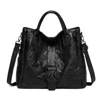 女包大包大容量手提包简约单肩包斜挎包软皮女士包包 大号黑色-建议160以上身高