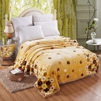 毛毯双层加厚冬季被子双人珊瑚绒毯子卡通单人学生宿舍盖毯 黄色 缤纷黄