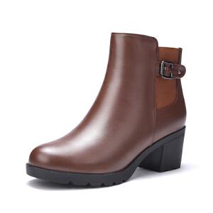 富贵鸟女鞋 秋冬新款短筒女靴粗跟短靴女靴马丁靴女英伦风