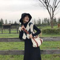 2018秋冬韩版复古百搭英伦菱格V领无袖针织背心学院风马甲毛衣女 均码