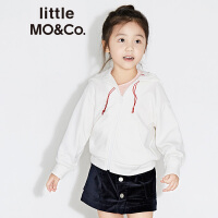 littlemoco秋冬儿童连帽卫衣刺绣图案男女童长袖套头卫衣