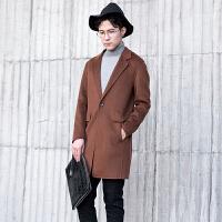 极简风卡其驼色2017秋冬韩版新款双面羊绒大衣男士正品羊毛呢潮 焦糖色 M