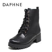 Daphne/达芙妮秋冬新款休闲女靴粗方跟圆头系带马丁靴