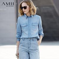 【每满200减100 多买多减 不封顶】Amii[极简主义]休闲风 100%棉牛仔衬衫 2018春装直筒水洗刮痕上衣