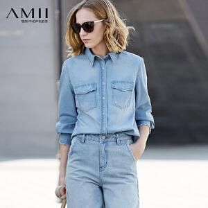 【大牌清仓 5折起】Amii[极简主义]休闲风100%棉牛仔衬衫2018春装直筒水洗刮痕上衣
