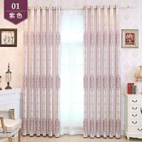 欧式窗帘成品高遮光窗帘布料简约现代卧室落地窗客厅飘窗平面窗纱