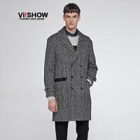 VIISHOW冬季新款男士风衣中长款外套男潮拼接撞色时尚大衣