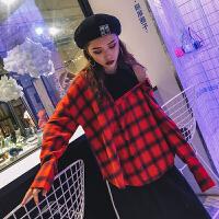 韩观原宿衬衫女长袖2017秋装新款bf假两件露肩上衣韩版学生格子衬衣潮SN518 红色 红格 均码