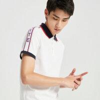 【1件3折价:107.7】降|MECITY男装2019夏季新款时尚撞色针织翻领白色POLO衫男士短袖