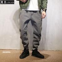 原创韩版修身水洗剪裁灰色牛仔裤日系复古休闲低裆跨裤男装 灰色 灰色牛仔裤