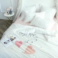 家纺小清新公主风长绒棉四件套全棉毛线绣花被套蕾丝花边套件床上用品 丘比特