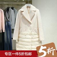 毛呢大衣女冬装新款 翻领中长款拼接双排扣长袖外套