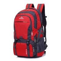 背包男双肩包女防水电脑包旅行书包时尚运动轻便大容量户外登山包 红色 60升