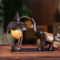 灯饰 泰国雕刻大象台灯复古竹编酒店卧室床头装饰台灯温馨 图片款式现货 按钮开关