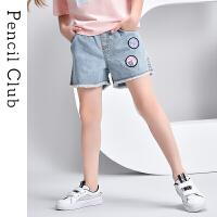 【2件3折价:49.8元】铅笔俱乐部童装2021夏装新款女童牛仔短裤中大童中裤儿童休闲裤子